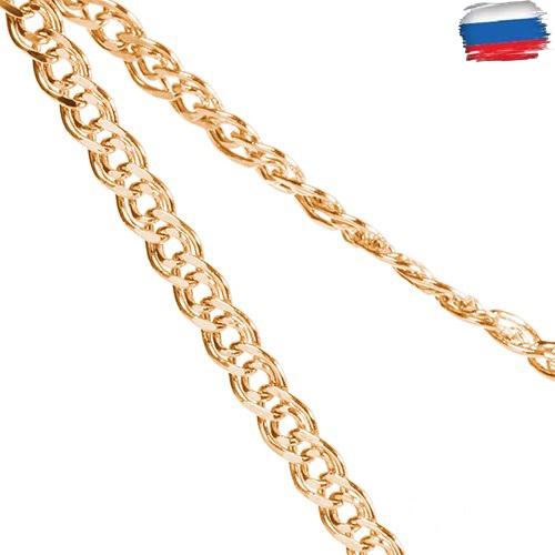 Золотая цепочка пустотелая с родированием, плетение Нонна