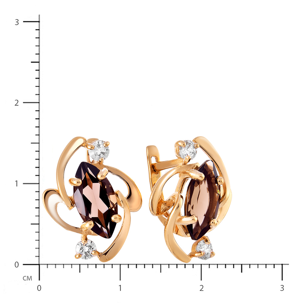 Серьги с раух-топазами и фианитами из золота