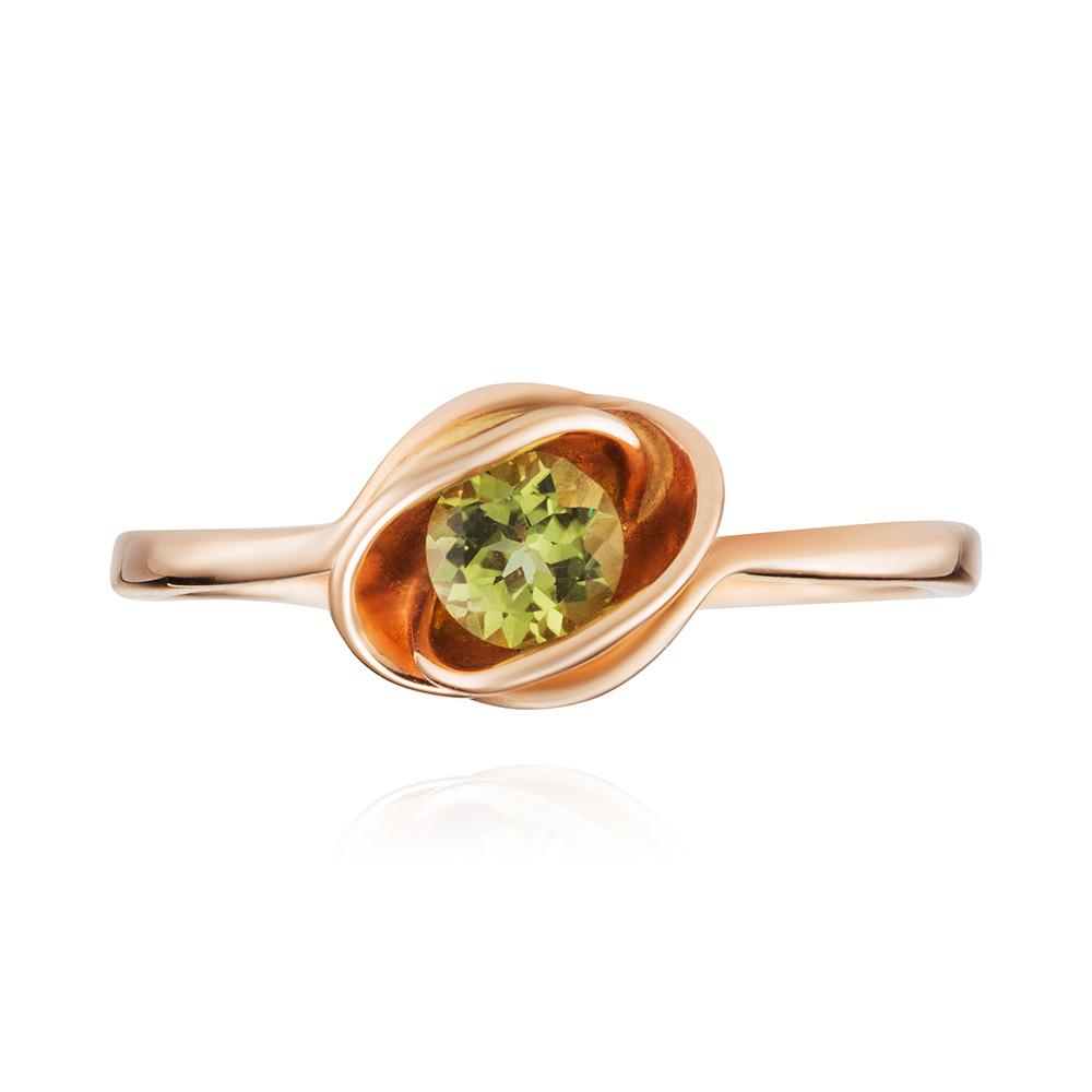 Кольцо с хризолитом из золота