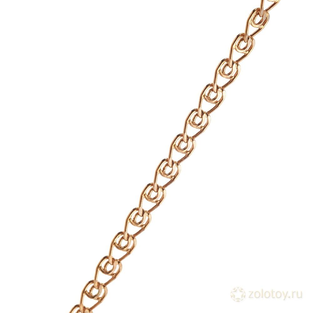 Золотая цепочка с родированием, плетение Лав