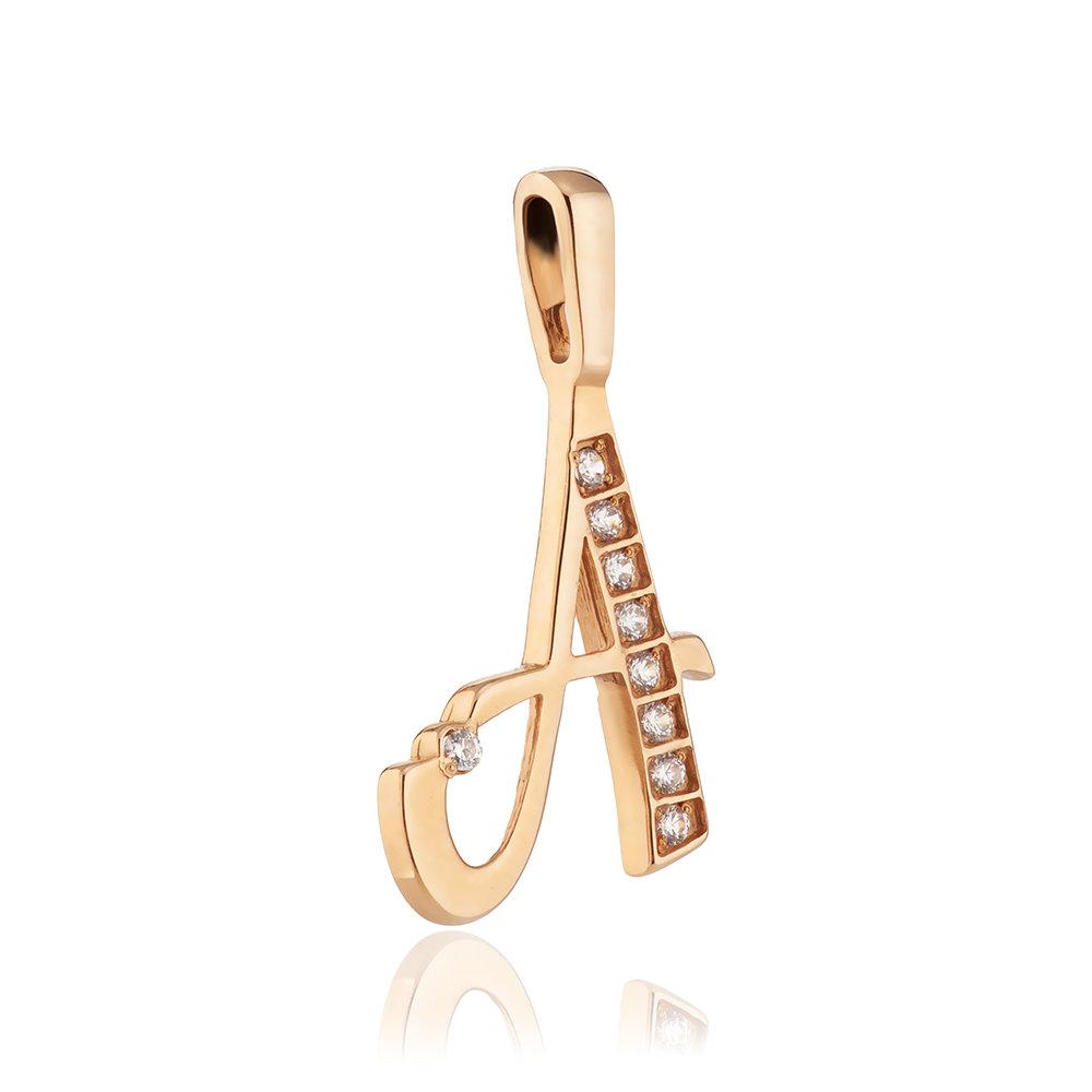 Подвеска из золота, буква А с фианитами