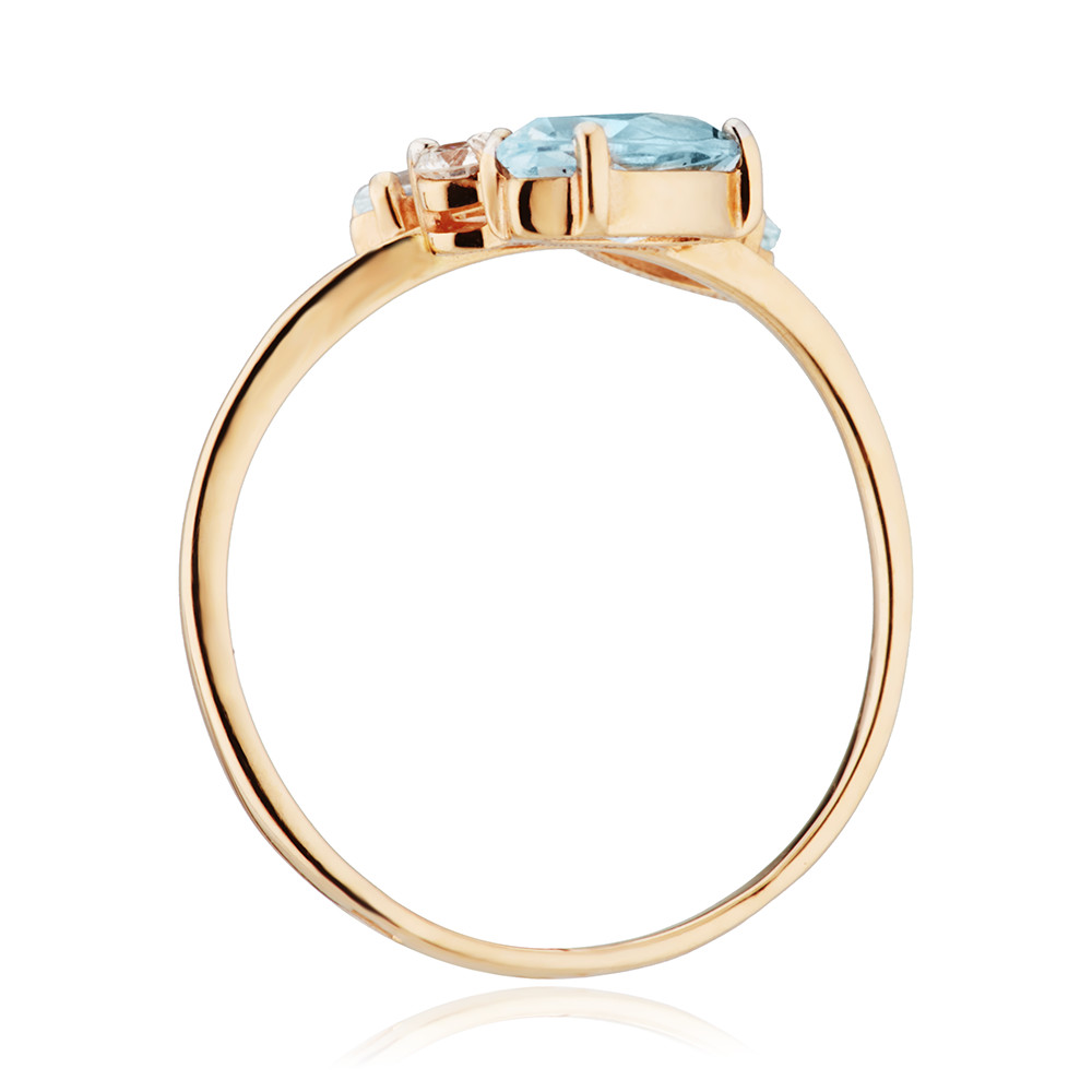Кольцо из золота с топазами и бриллиантом