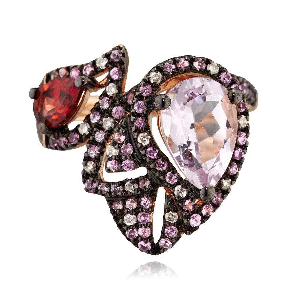 Кольцо с сапфирами, бриллиантами и цветными полудрагоценными камнями