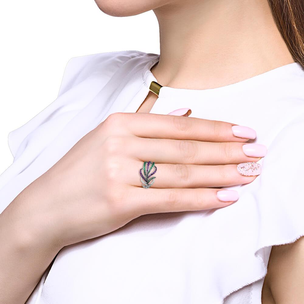 Кольцо Перо SOKOLOV с фианитами из серебра