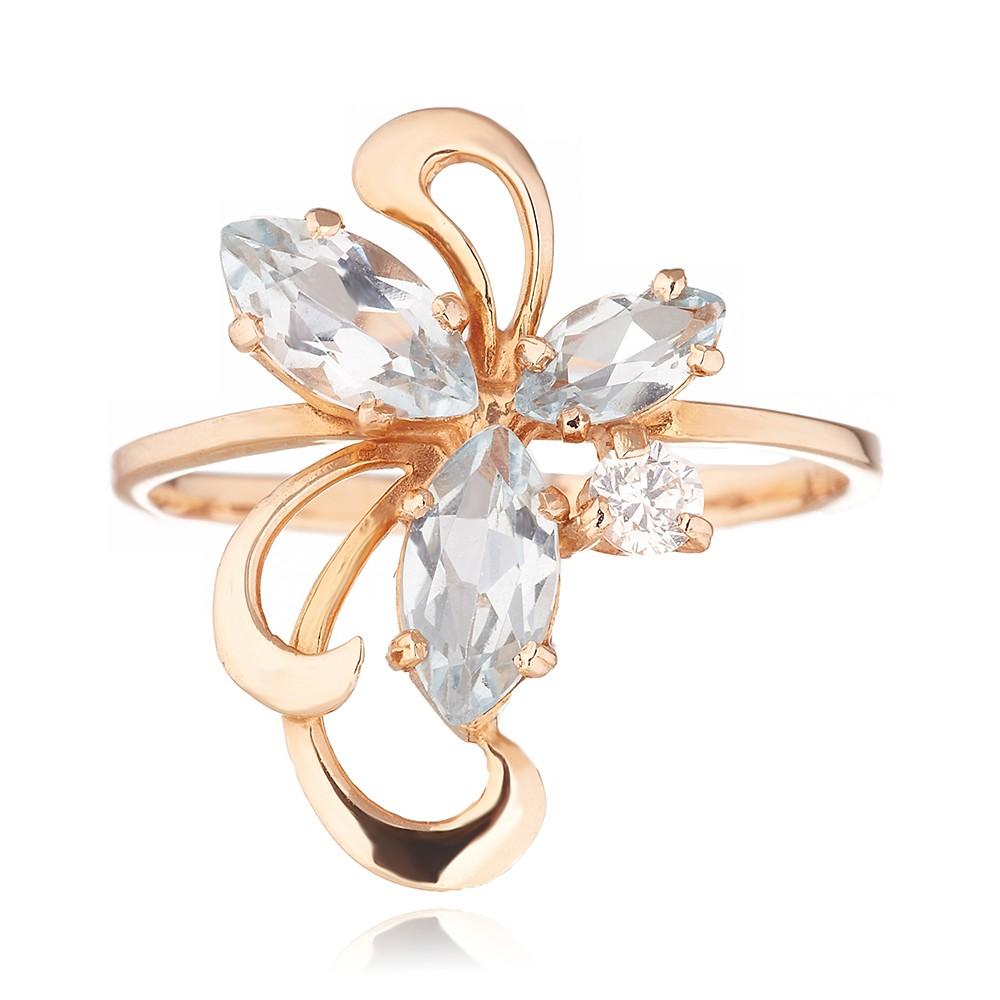 Кольцо из золота с топазами и фианитом