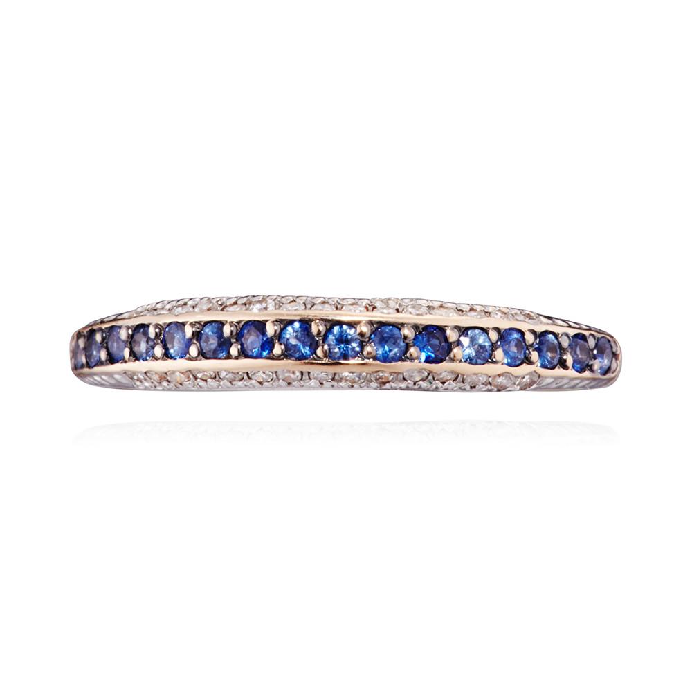 Кольцо с сапфирами, бриллиантами и родированием