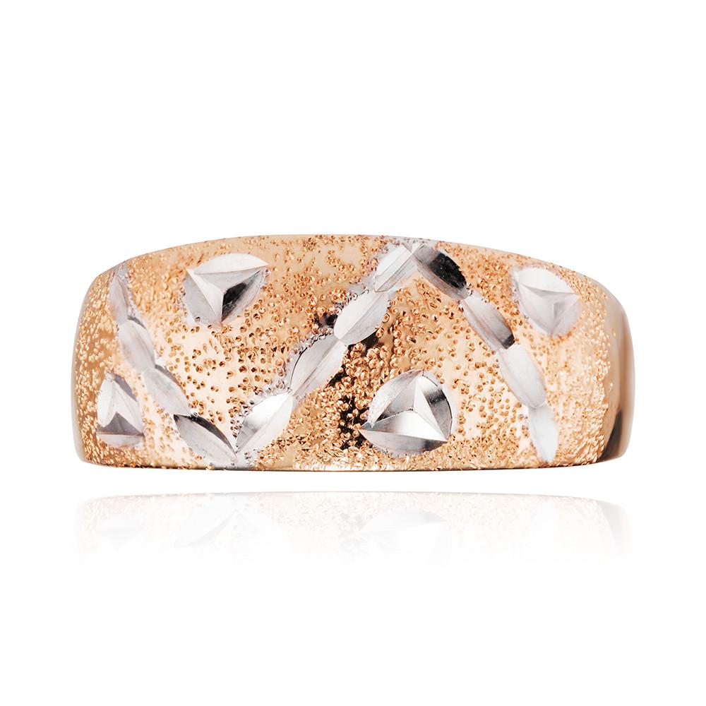 Кольцо с алмазной гранью, родированием и матированием