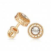 Серьги-пусеты с бриллиантом, алмазной гранью и родированием