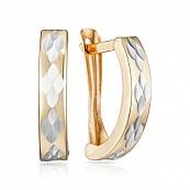 Серьги-конго с алмазной гранью и родированием