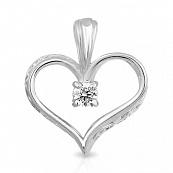 Подвеска Сердце с фианитом из серебра