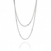 Золотая цепочка с алмазной гранью и родированием, якорное плетение